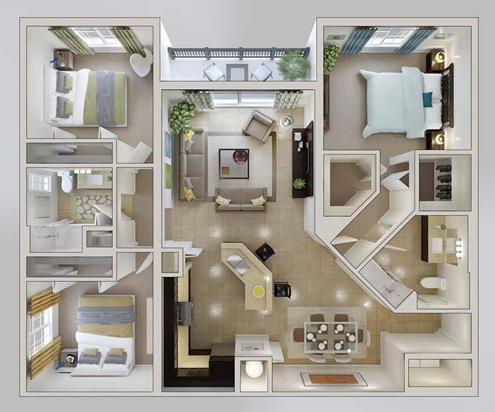 Floor plan of 3 rooms 3D with integrated environments