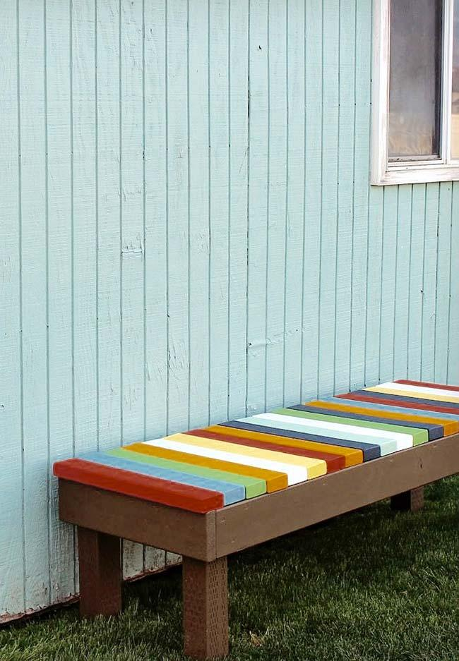 Colorful pallet bench