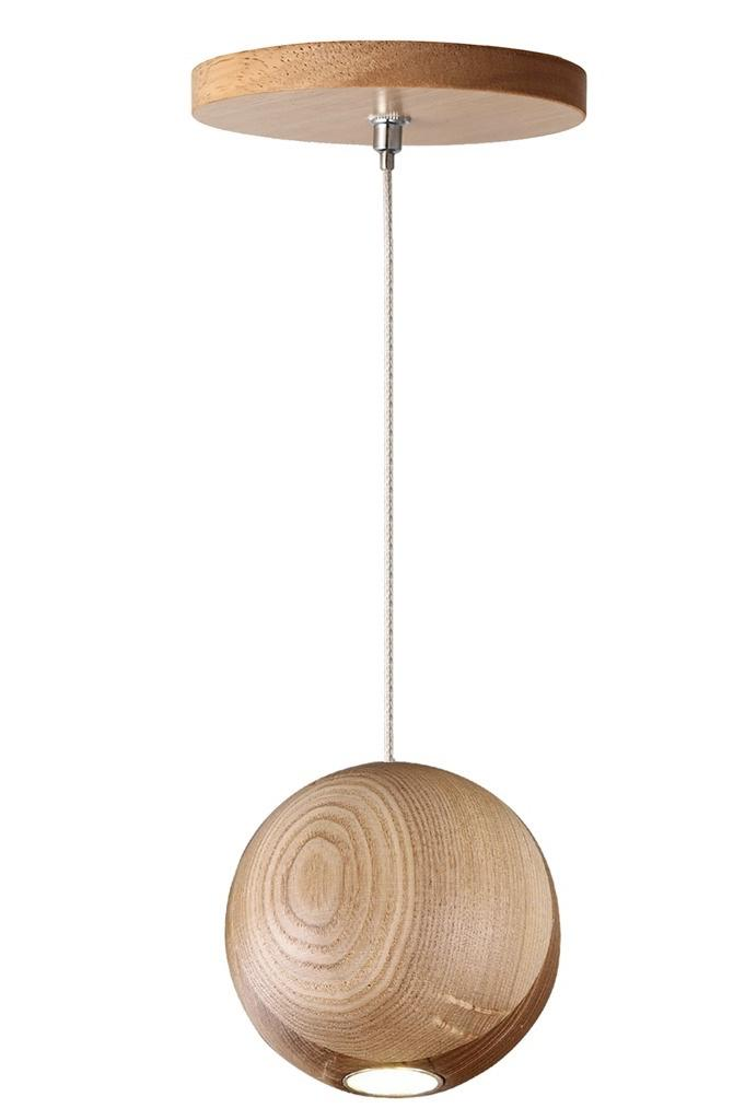 Wooden ball suspended with light