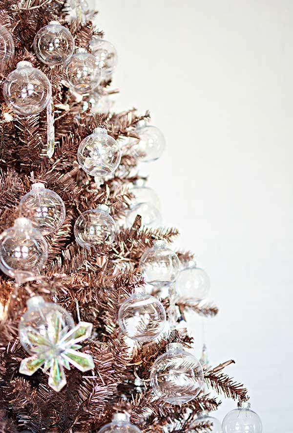 Transparent glass or acrylic balls to decorate the tree