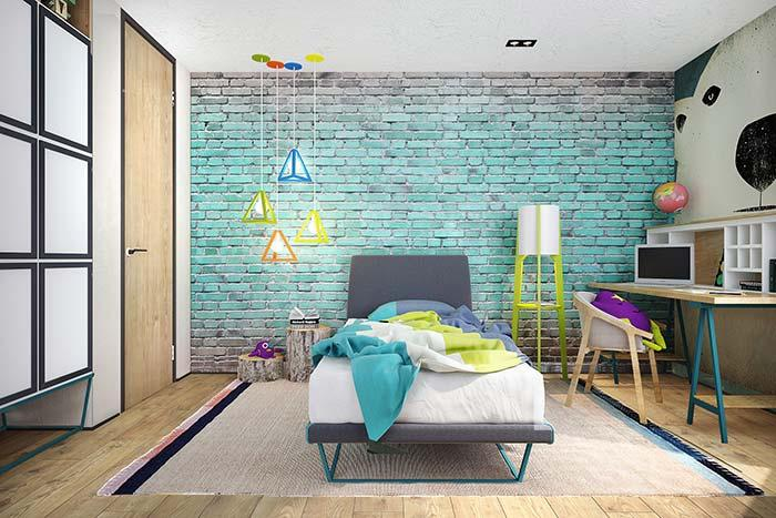 Brick wall in youth bedroom