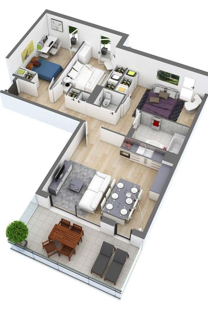 Floor plan with 3 bedrooms 3D and integrated environments