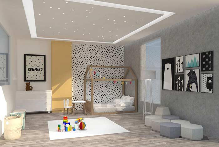 Plaster ceiling with light dots for baby room