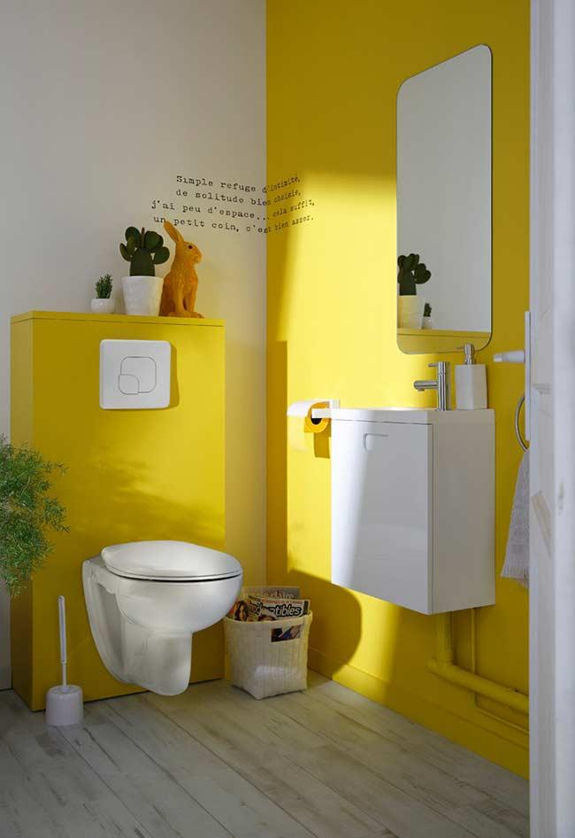 Yellow on wall receiving direct lighting