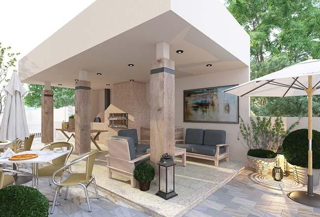 Neutral tones to decorate the barbecue
