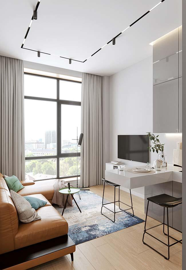 Small decorated apartment in neutral tones