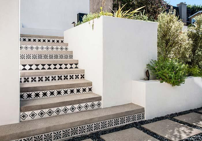 Decorative tile for concrete stairs