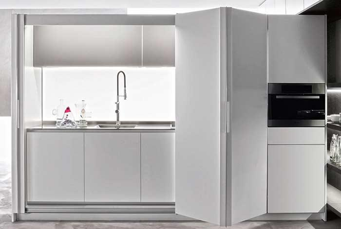 Whole clean white kitchen