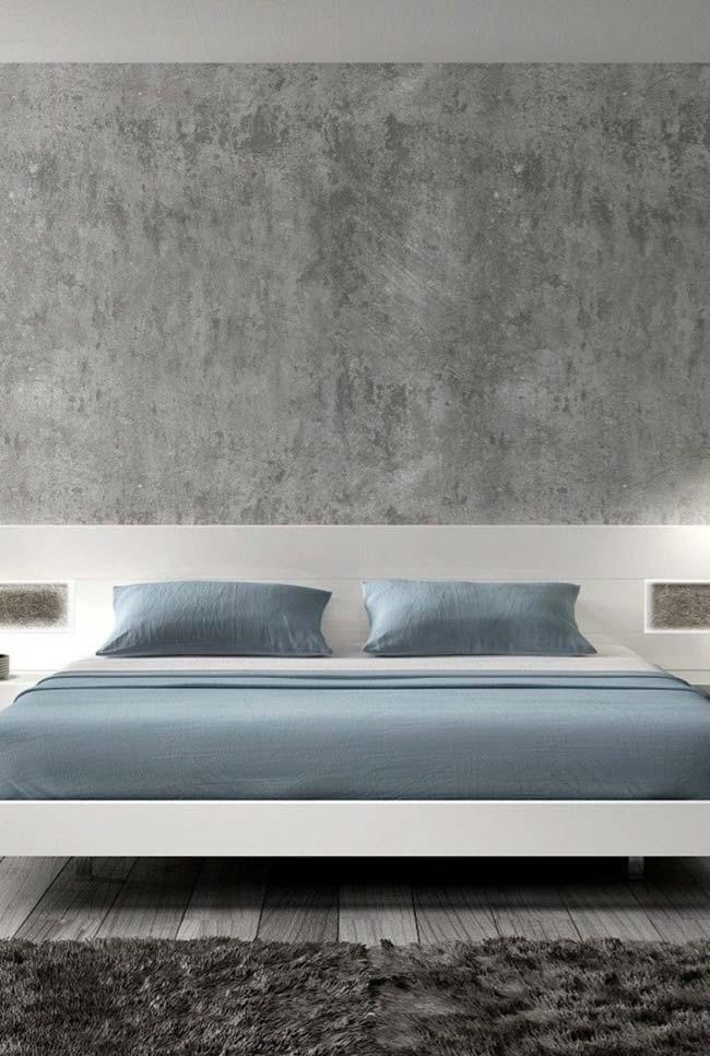 Gray marble in the double bedroom white and blue