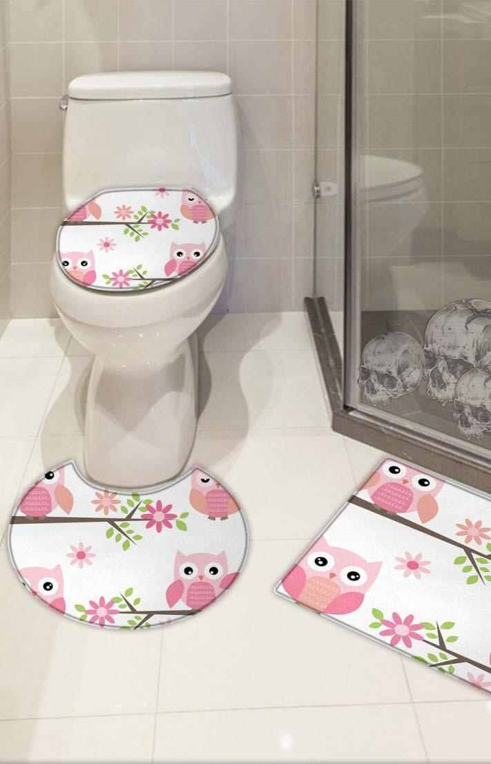 Rubberized bathroom set with pink owls