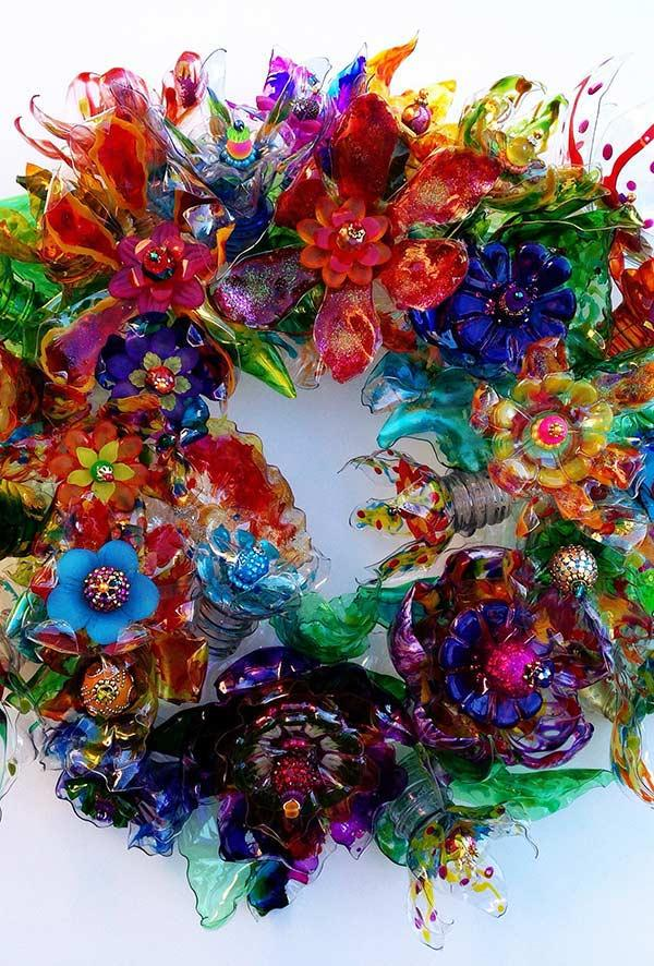 Wreath with plastic flowers