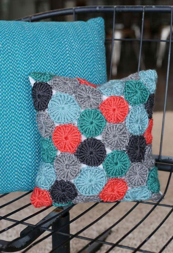 Cushion cover with crocheted yoke