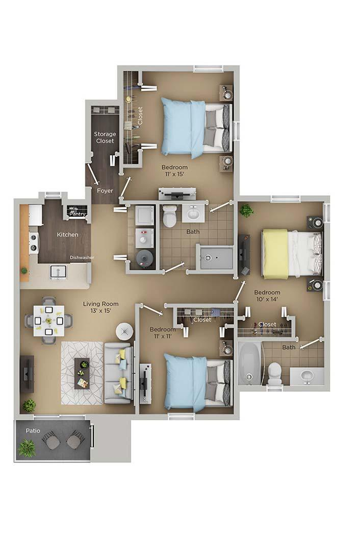 Floor plan with 3 bedrooms and suite