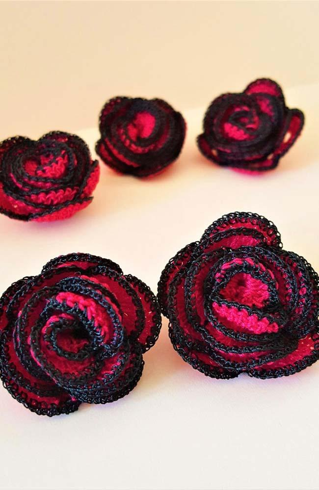 Red and black crochet roses