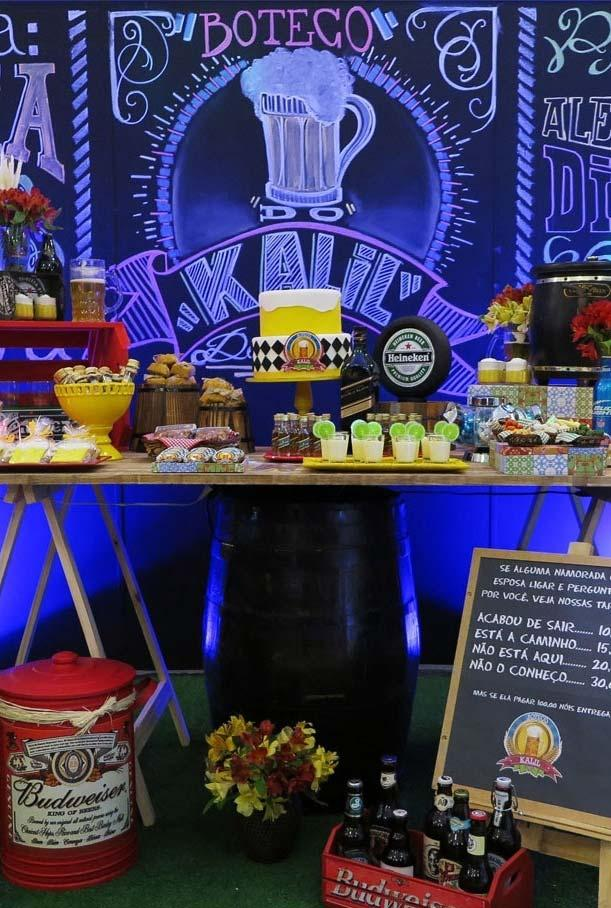 Main table for party booth