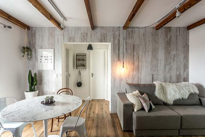 Gray on the walls and wood on the floor