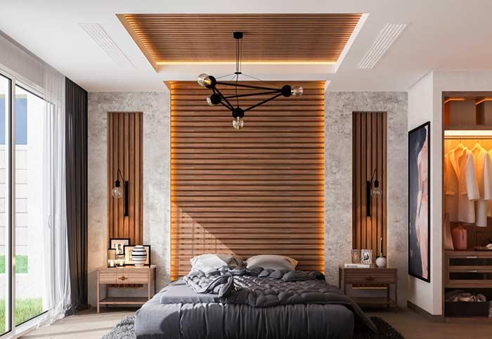 Gypsum ceiling highlighting the headboard of the bed