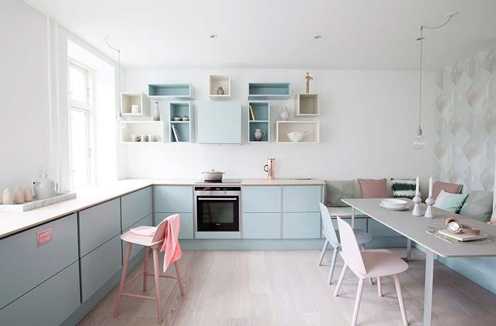 Another example of contemporary kitchen with pastel tones
