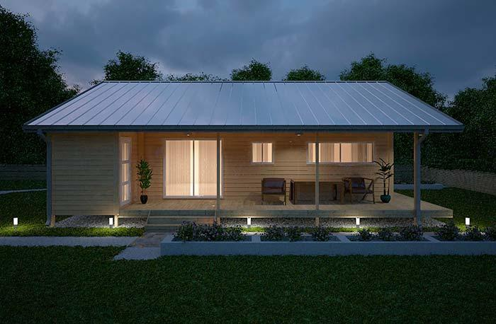 Simple house with white zinc tile