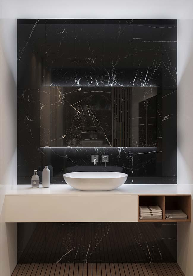 All the charm and elegance of the black marble borrowed for this bathroom white background