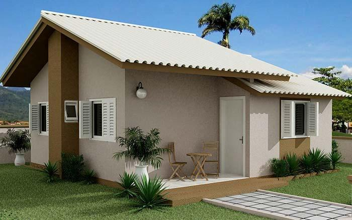 Small flat house with fiber cement roof