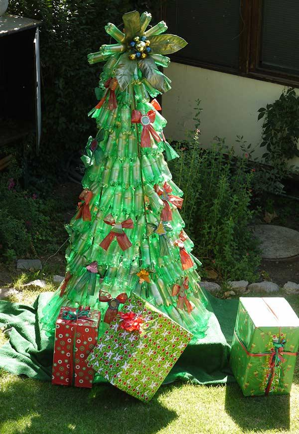 PET Bottle Christmas Tree: 40 ideas and step by step 3