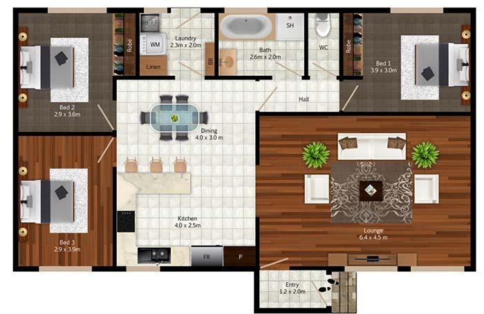 House plan with three rooms without suites