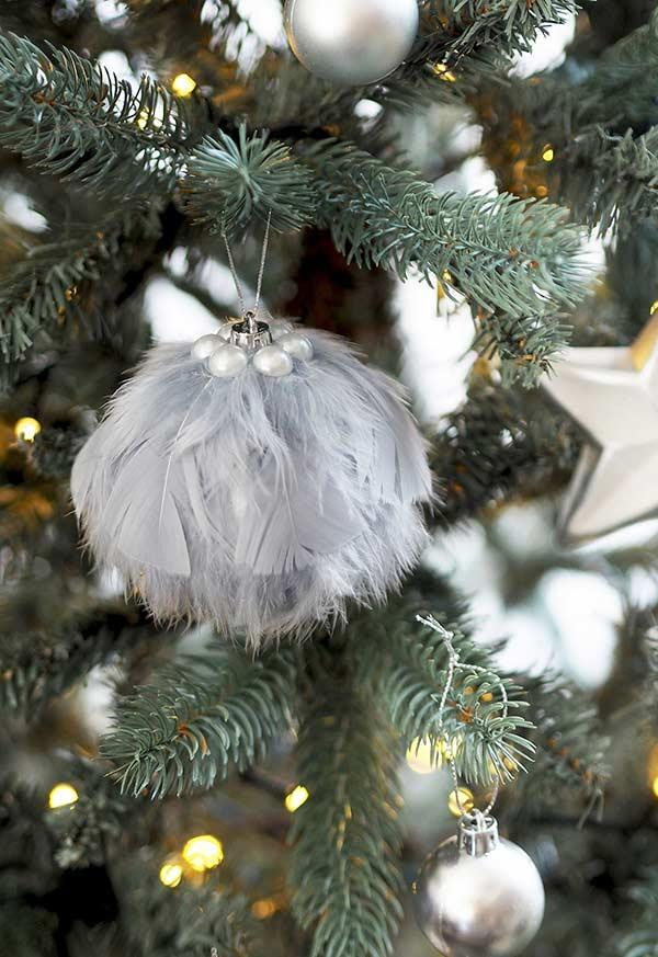 Christmas ball with artificial feathers