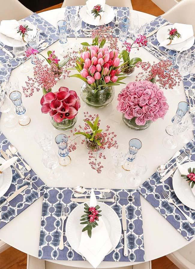 Table set with flower arrangements