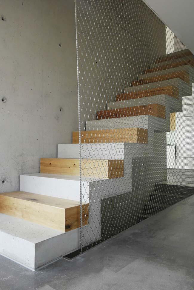 Wooden steps and concrete on ladder