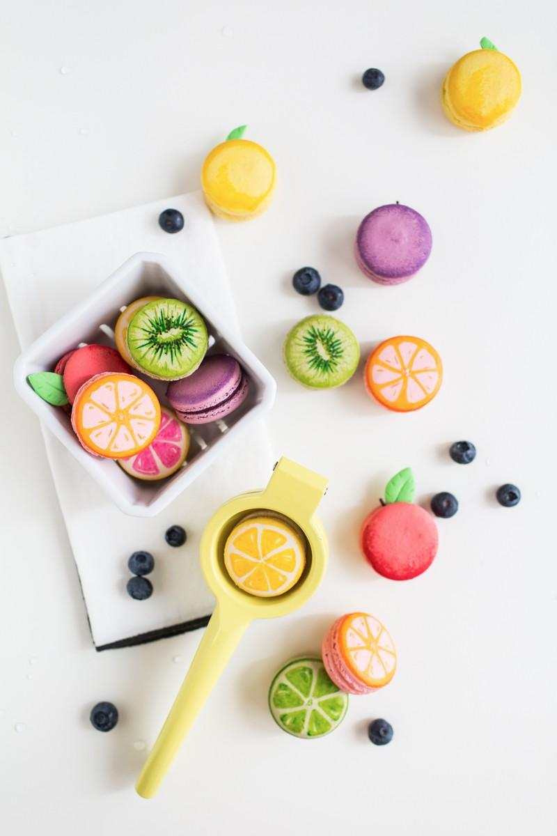Macarons for party with citrus theme