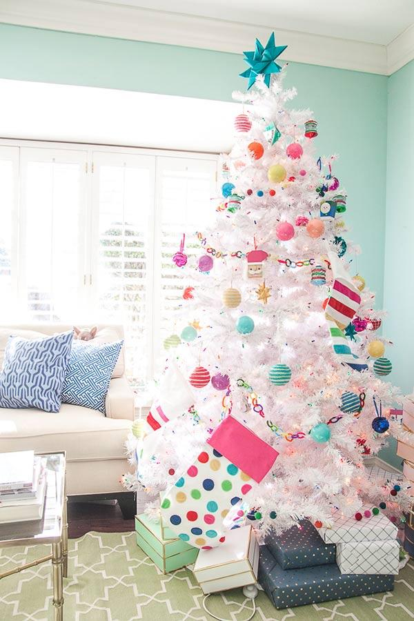 White Christmas tree with colorful and fun details