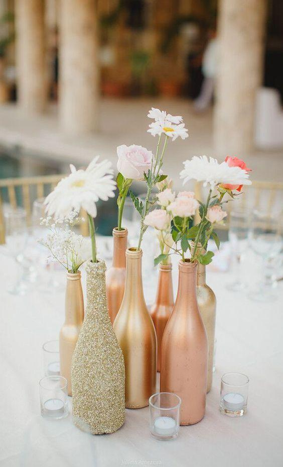 Table Top with Bottle: see beautiful ideas to decorate the table 38