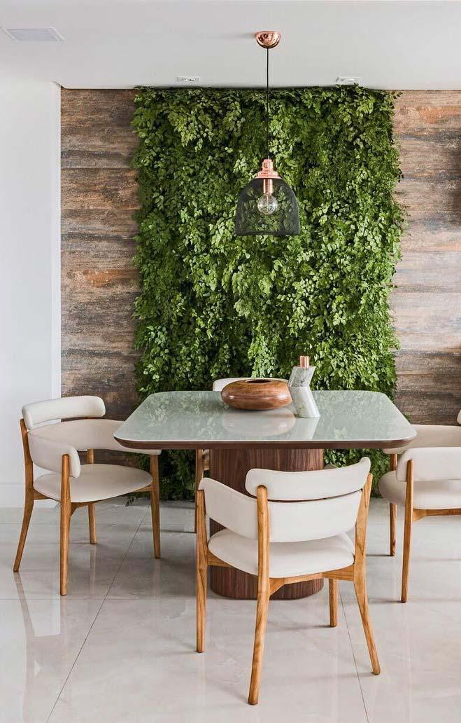 Vertical garden made with wood porcelain