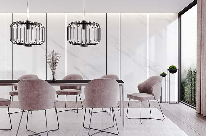 Modern ambience has gained the charm and sophistication of Piguês marble flooring