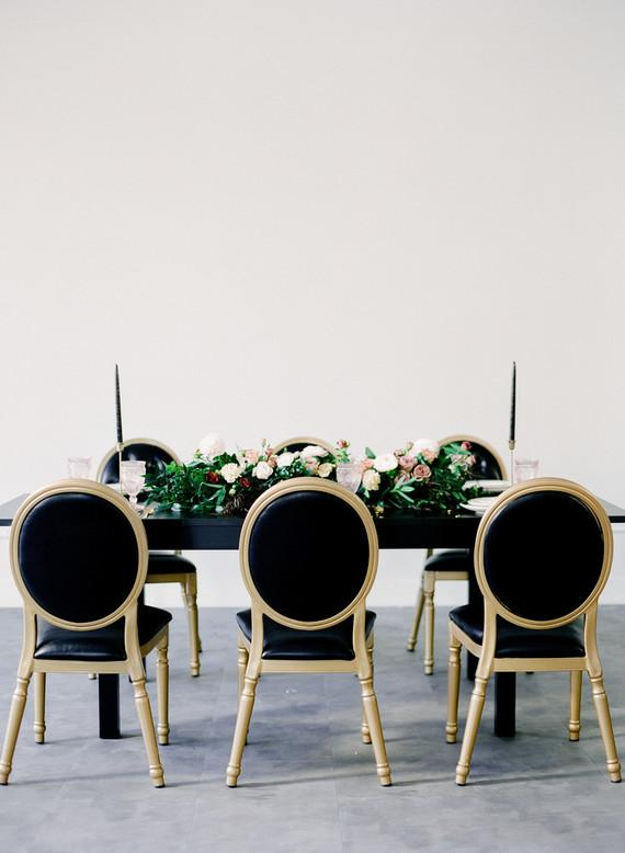 Black and gold wedding decoration at home