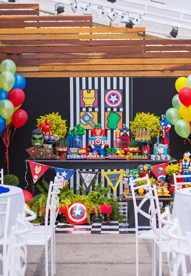 Symbols of super heroes at Avengers party
