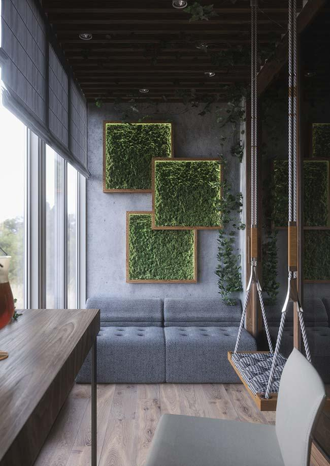 Balcony with modern decor and vertical garden