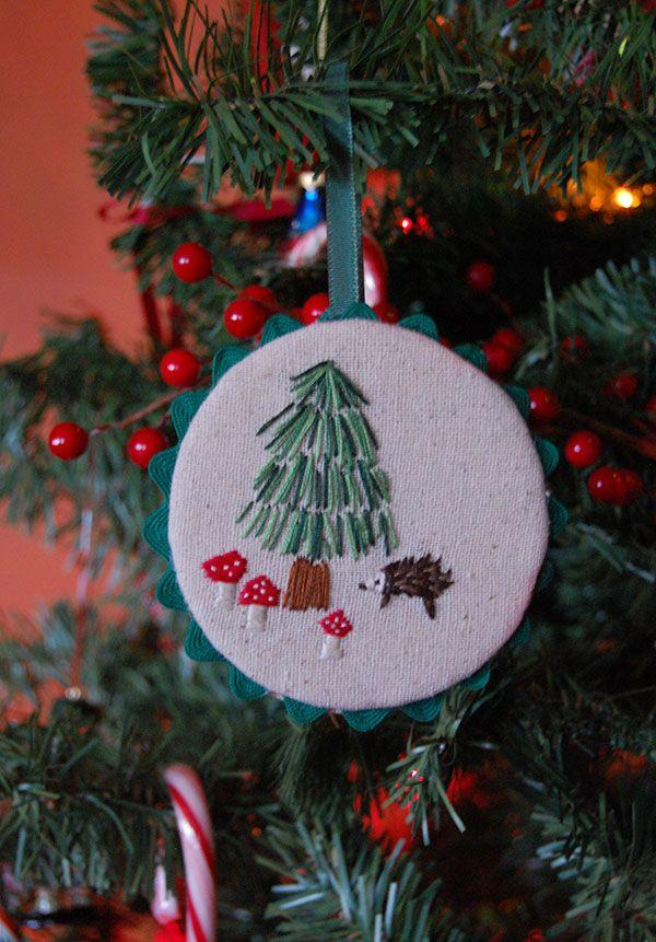Embroidery on a different frame as an ornament
