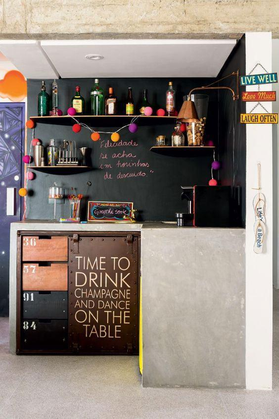 Wall bar: 60 awesome designs, designs and photos 23