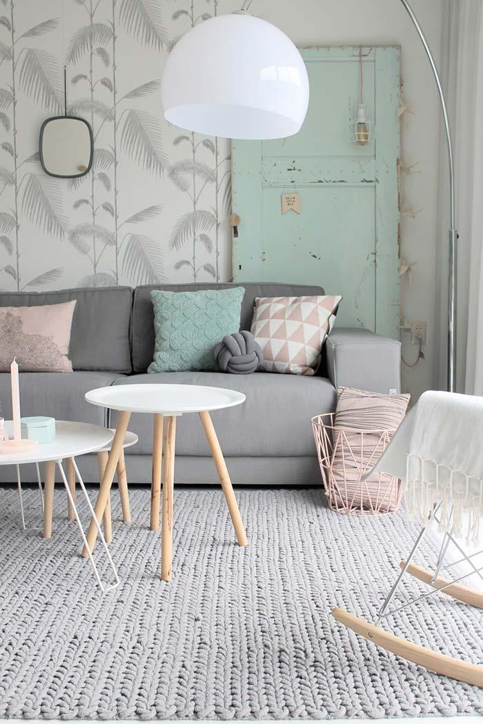 Shades of gray and candy colors in the room