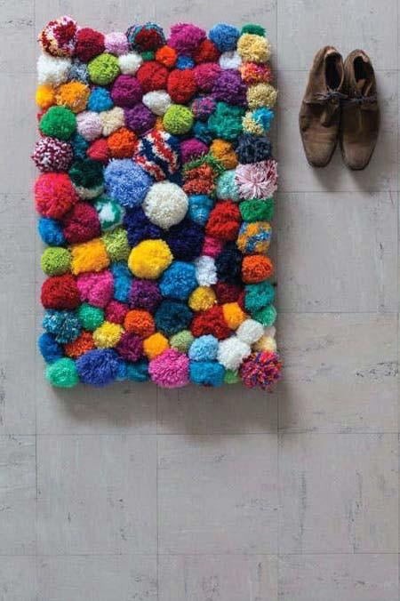 Colorful and fun pompom rug