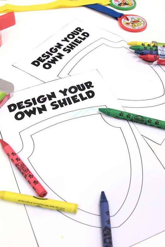 Coloring station with designs for party canine patrol