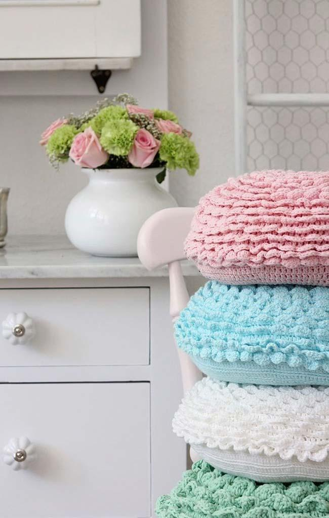 Crochet Round Cushion Cover