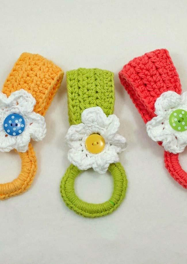 Mini crochet dish towel holder