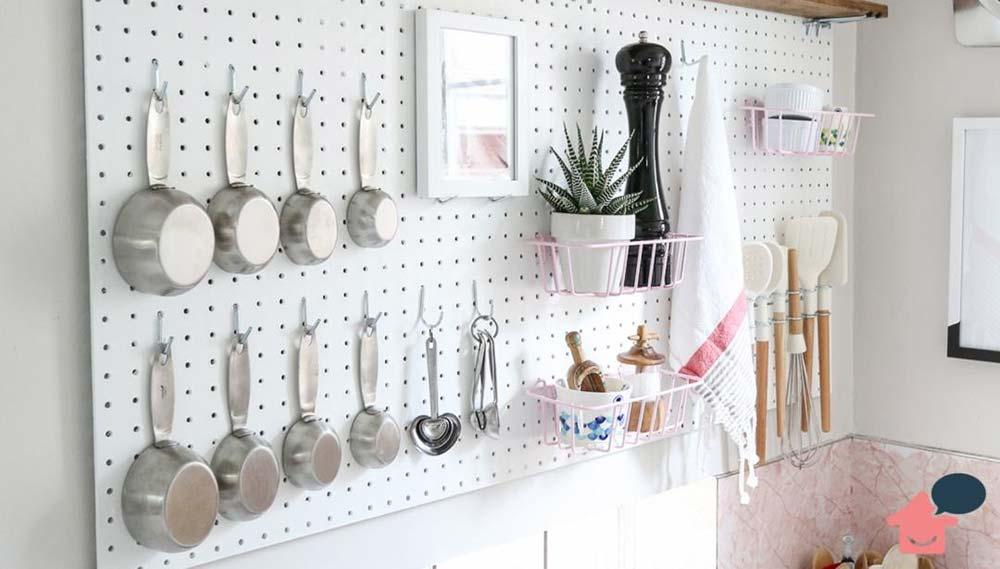 How to organize small kitchen with pegboards