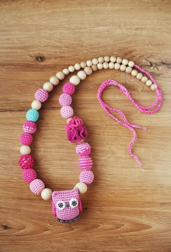 Wooden necklace with owl
