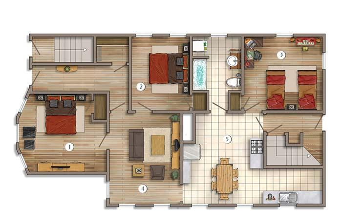 In this apartment, each room is to one side.