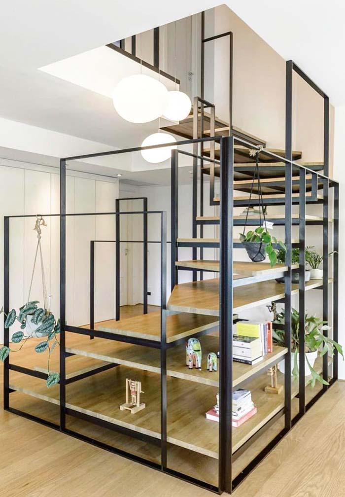 Creative idea: structured staircase in steel and wood
