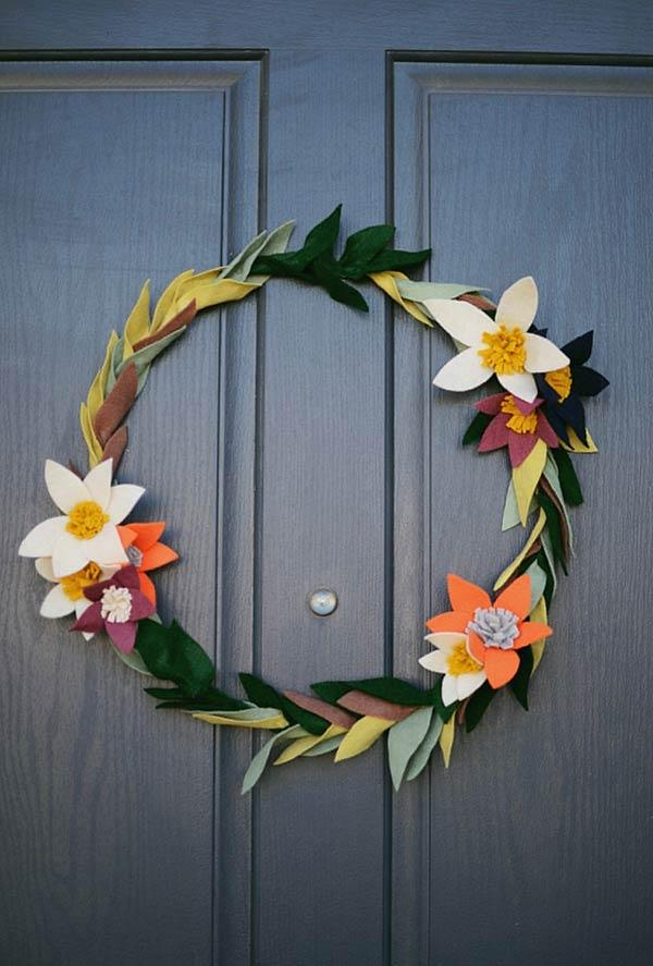 Wreath with felt leaves and flowers